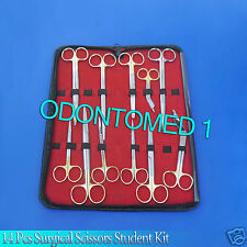 14 PC SURGICAL VETERINARY SCISSORS STUDENT KIT WITH TUNGSTEN CARBIDE INSERTS