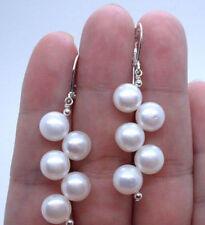 Beautiful Handmade White Freshwater Pearl Silver Hook Leverback Earrings JE167