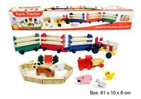 *NEW* Large Wooden Farm Tractor Truck with 3 Trailers Animals & Fence Fencing