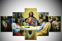 Jesus Disciples The Last Supper 5 Piece Canvas Print Poster HOME DECOR Wall Art