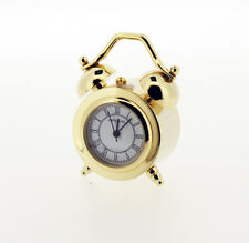 Novelty Miniature Twin Bell Alarm Clock Style Clock in Gold Tone