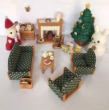 Sylvanian Families Navidad salón conjunto con Santa, Árbol y chimenea de trabajo