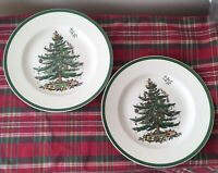 "Lot of 2 Spode Christmas Tree S3324 Dinner Plates 10 3/4"" Porcelain England Made"