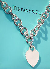 Tiffany & Co Heart Tag Charm Choker Necklace in Sterling Silver