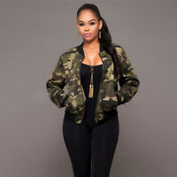 Womens Fashion Camouflage Bomber Jacket Military Army Zip Up Blazer Short Coat