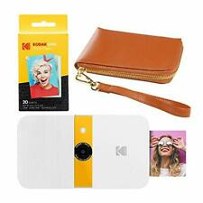 KODAK Smile Instant Print Digital Camera (White/Yellow) Brown Wrislet Carrying C