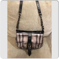 Burberry Nova check Black Leather Cross-body Bag with Chain Shoulder Strap 87105d156ab6e