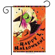 "Flying Witch Halloween Garden Flag Jack o'Lantern 12.5"" x 18"" Briarwood Lane"