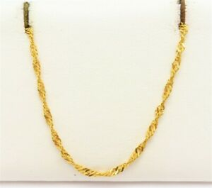 """21K Yellow Gold ~2.3MM Wide Singapore Link Chain Necklace 17"""""""