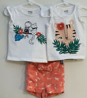 Gymboree Baby Girl's Sz 6-12M Outfit Three Pieces Orange Cat Shorts/Two Tops EUC