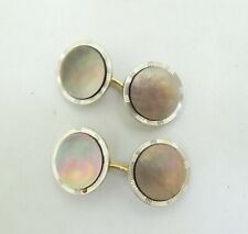 14K Yellow & White Two Tone Gold Round Mother of Pearl Cufflinks 14mm 5.3g D9839