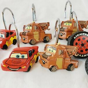 Disney Cars Shower Curtain Rings Set 9 Lighting McQueen  Tire And Mater