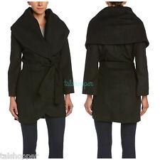 NEW TAHARI Marla Wrap Cocoon Shawl Collar Black Wool Coat NWT Large L 12-14