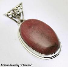 Artisan Jewelry Collection Y185B Rhodonite Pendant 925 Sterling Silver