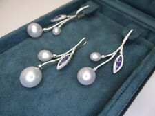 PASPALEY South Sea Pearls, Tanzanites, Diamonds Earrings and Pendant Set