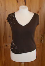 PER UNA M&S chocolate brown v neck lace bead short sleeve tunic top tshirt 16 44