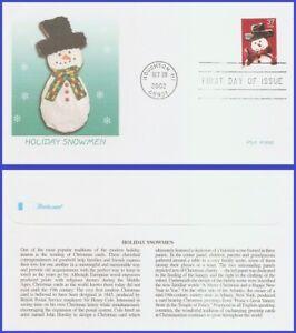 USA5 #3676 U/A FLEETWOOD FDC   Snowman Red Plaid Scarf s/a