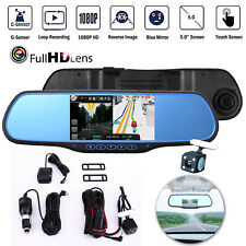 Dual Lens 5'' 1080P Car DVR GPS WIFI Navigation Rearview Mirror Camera Android