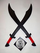 2 Red Scimitar Swords Martial Arts Practice Pair Training Dual Trainer DVD