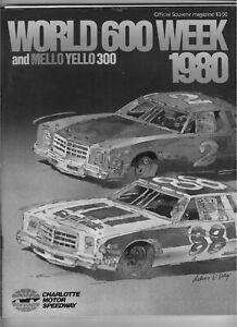 1980 World 600 Charlotte and Mello Yellow 300 Nascar Program