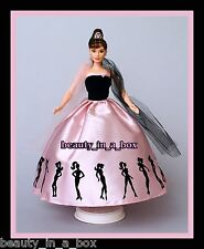 Audrey Hepburn Pink Barbie Silhouette Dress OOAK Celebrity Redress Doll NO BOX