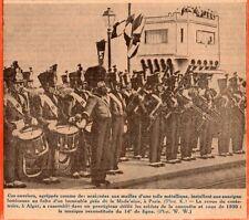 IMAGE 1930 PRINT ALGER REVUE CENTENAIRE SOLDAT MUSIQUE RECONSTITUEE 14EME LIGNE