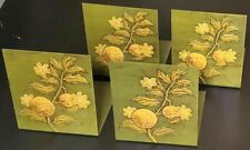 """4 painted metal bookends green yellow bas-relief flowers fruit Japan 6"""" x 5-1/8"""""""
