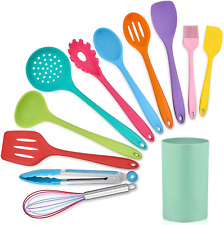 LIANYU 12-Piece Silicone Kitchen Cooking Utensils with Holder, Kitchen Tools Set