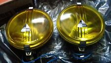 Coppia fari gialli LUMAX LAMPS JAGUAR MINI MG AUSTIN 12V chrome fog lights NOS