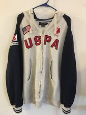 USPA Flag Red Pony Full-Zip Hoodie Gray/Navy (Size XL) 80% Cotton/20% Polyester