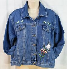 Ladies Route 66 Floral Embroidered Jean Jacket Size Large