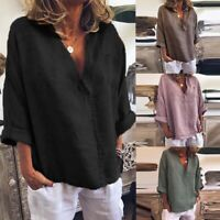 UK Womens Oversized Casual V Neck Loose Tops Shirts Ladies Solid Blouses Plus