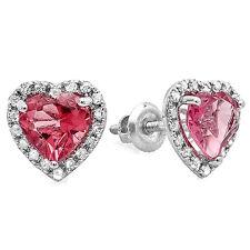 1.65 CT 10K White Gold Heart Cut Pink Tourmaline & Round Diamond Stud Earrings