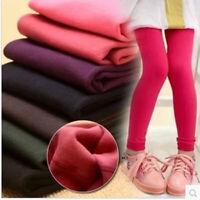 Kids Girls Winter Leggings Velvet Fleece Lined Slim Princess Nine points pants