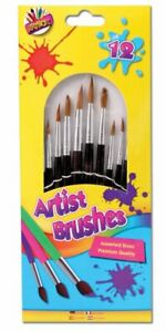 Paint Brushes Childrens Kids Artist 12 Brushes, Artbox, Art and Crafts