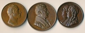 3 HISTORIC MEDALS (WATERLOO LAFAYETTE FRANKLIN & MONTYON) 1815-1833 > NO RESERVE