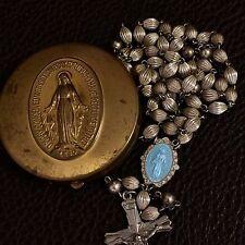 RARE Old Vtg Sterling Silver Ridged Fluted Bead Enamel Rosary & Virgin Mary Box