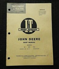 1960 JOHN DEERE MODEL 80 820 830 TRACTOR SERVICE SHOP REPAIR MANUAL