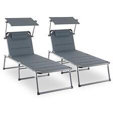 2 x Bain de soleil transat chaise longue jardin mousse pliable pare-soleil gris