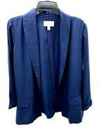 Chelsea28 Womens Medium Navy Blue Tencel Open Blazer Jacket NWOT