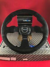 NRG Steering Wheel Black Real Suede Black Stitch 320mm Type-R Style RST-012S