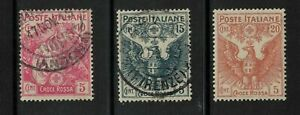 italy stamps - 1915 /16 red cross issue - mint / fine used sg 96-99