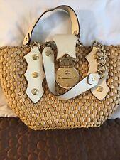 MICHAEL KORS Santorini Handbag White Leather Trim and Straw Bag Gold Chain Strap