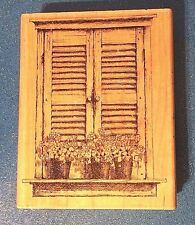 Closed Window w/ Flowerpots K1019 Impression Obsession Lg Wood Rubber Stamp EUC