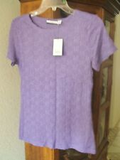 CROFT&BARROW  3X smocked To Lavender/Purple Pucker Stretch Top Blouse SZ S  NWTS