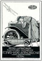 Stoewer Automobile Stettin Reklame 1919 Flugmotoren Werbung Dame Auto PKW