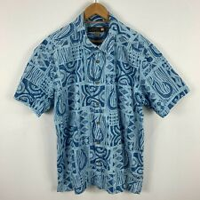 Quiksilver Mens Button Up Shirt 2XL Blue Hawaiian Short Sleeve Collared