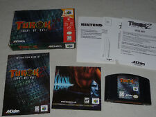 BOXED NINTENDO 64 VIDEO GAME TUROK 2 SEEDS OF EVIL COMPLETE W BOX & MANUAL N64 >