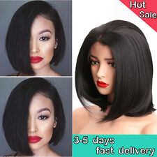 Black Straight Short Bob Style Free Part Synthetic Lace Front Woman Full Wigs