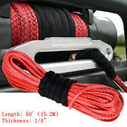 """50'x1/4"""" Strong Durable Car SUV Truck ATV UTV Dyneema Synthetic Winch Rope Cable"""